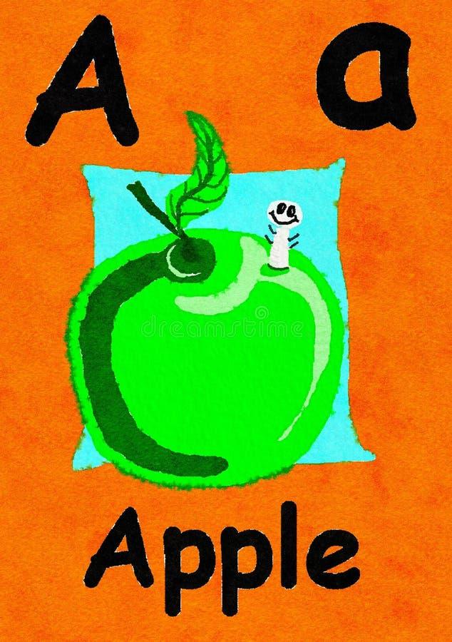 A è per la mela Impari l'alfabeto e l'ortografia royalty illustrazione gratis
