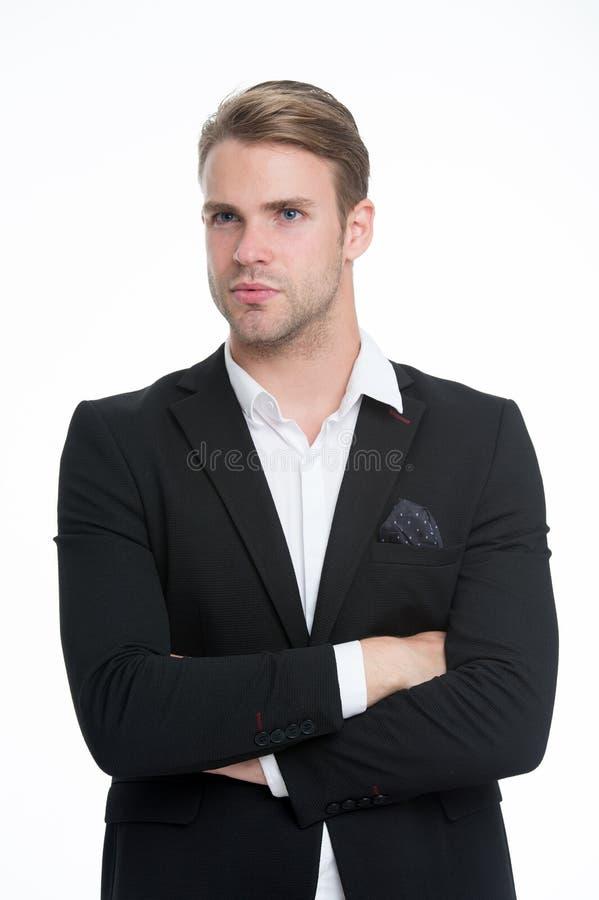 È su stile Equipaggi il fondo bianco isolato vestito convenzionale alla moda impiegatizio sbottonato ben curato Sicuro macho immagini stock
