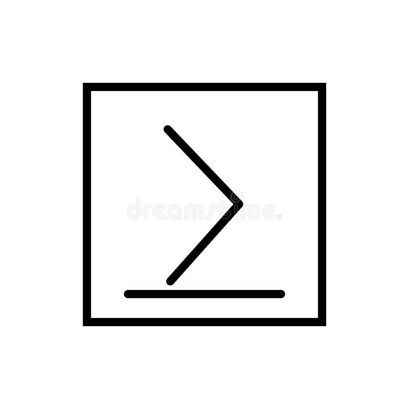 È superiore o uguale al vettore dell'icona isolato su fondo bianco, è superiore o uguale a elementi del segno, della linea e del  royalty illustrazione gratis