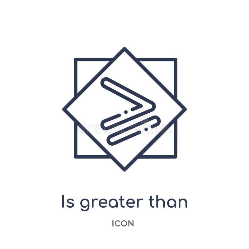 è superiore o uguale all'icona dalla raccolta del profilo dei segni La linea sottile è superiore o uguale a icona isolata su bian illustrazione di stock