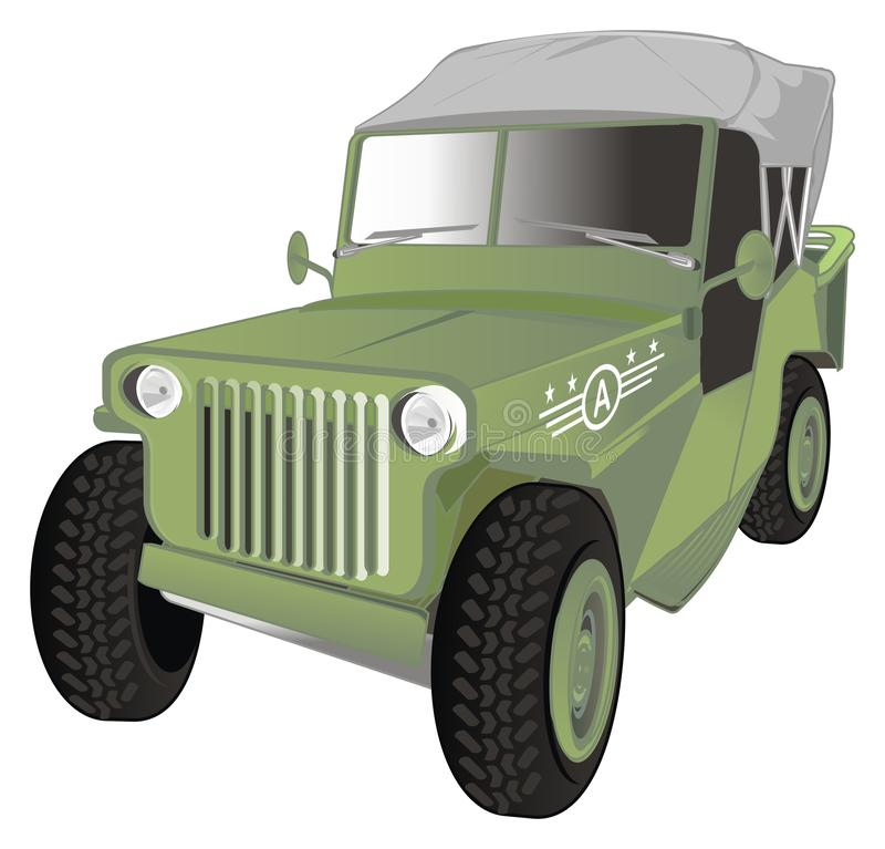 È vecchia automobile dell'esercito illustrazione vettoriale
