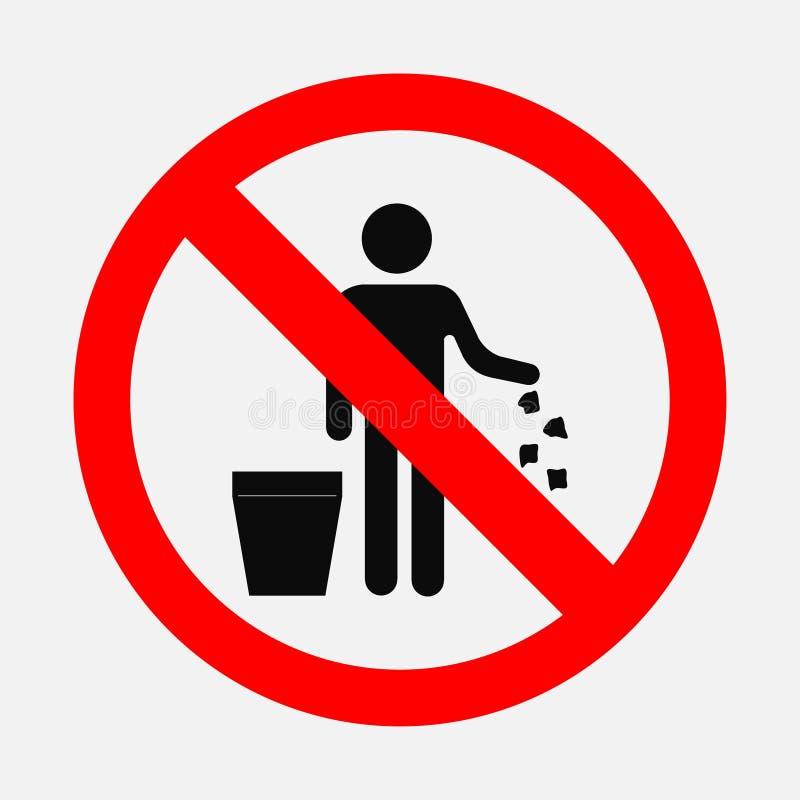 È vietato per gettare l'immondizia illustrazione vettoriale