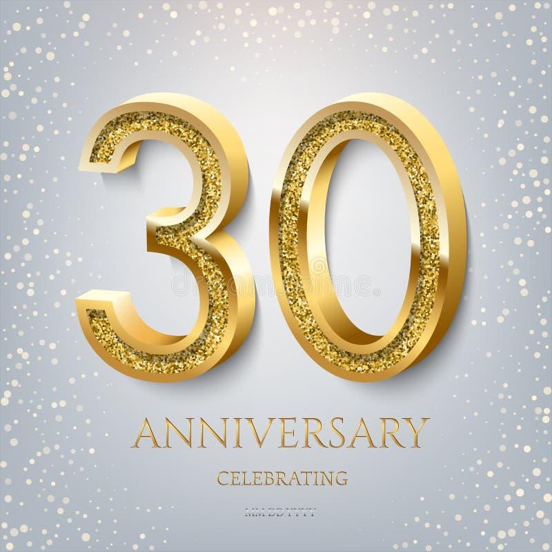 30ème anniversaire célébrant le texte et les confettis d'or sur le fond bleu-clair Événement d'anniversaire de la célébration 30  illustration libre de droits