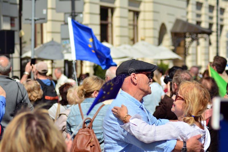 15ème anniversaire d'adhésion de Poland's à l'Union européenne Un festival sur la rue de Krakowskie Przedmiescie photos stock