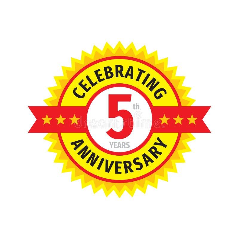 5ème conception de logo d'insigne d'anniversaire Cinq ans d'anniversaire d'emblème de bannière Affiche g?om?trique abstraite illustration de vecteur