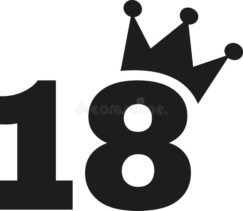 18ème couronne de nombre d'anniversaire illustration de vecteur