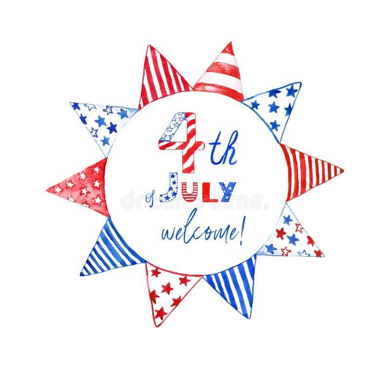 4ème de drapeaux rouges de juillet de la guirlande patriotique, blancs et bleus Guirlande décorative de vacances pour la concepti illustration libre de droits