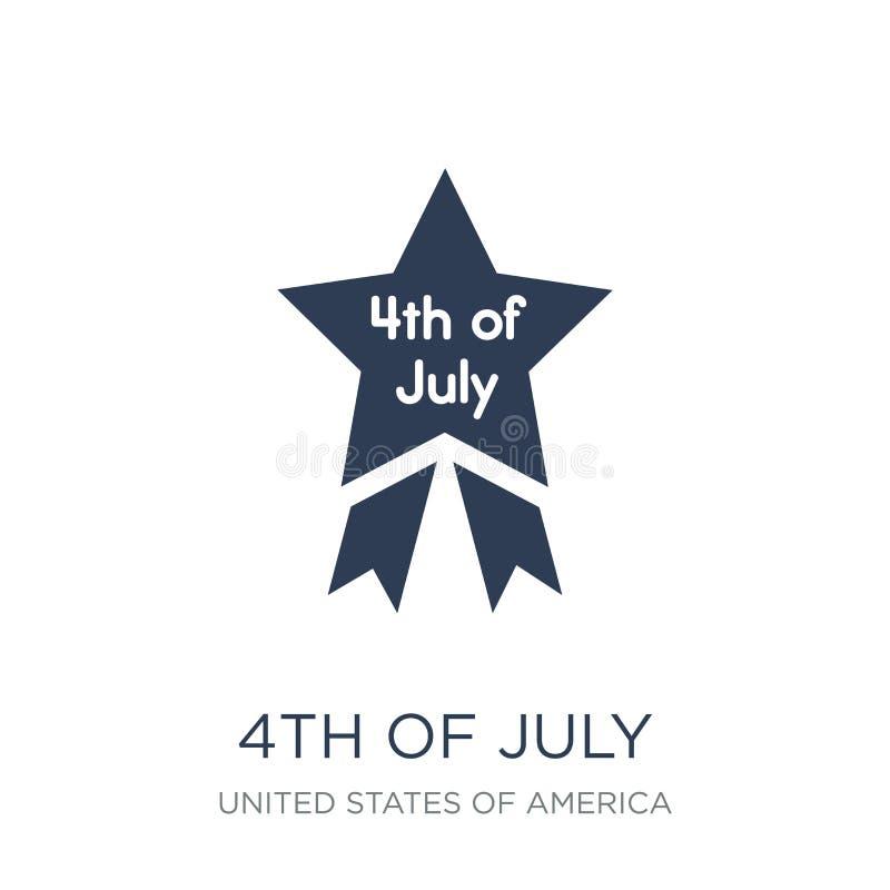 4ème de l'icône de juillet Vecteur plat à la mode 4ème d'icône de juillet sur b blanc illustration de vecteur