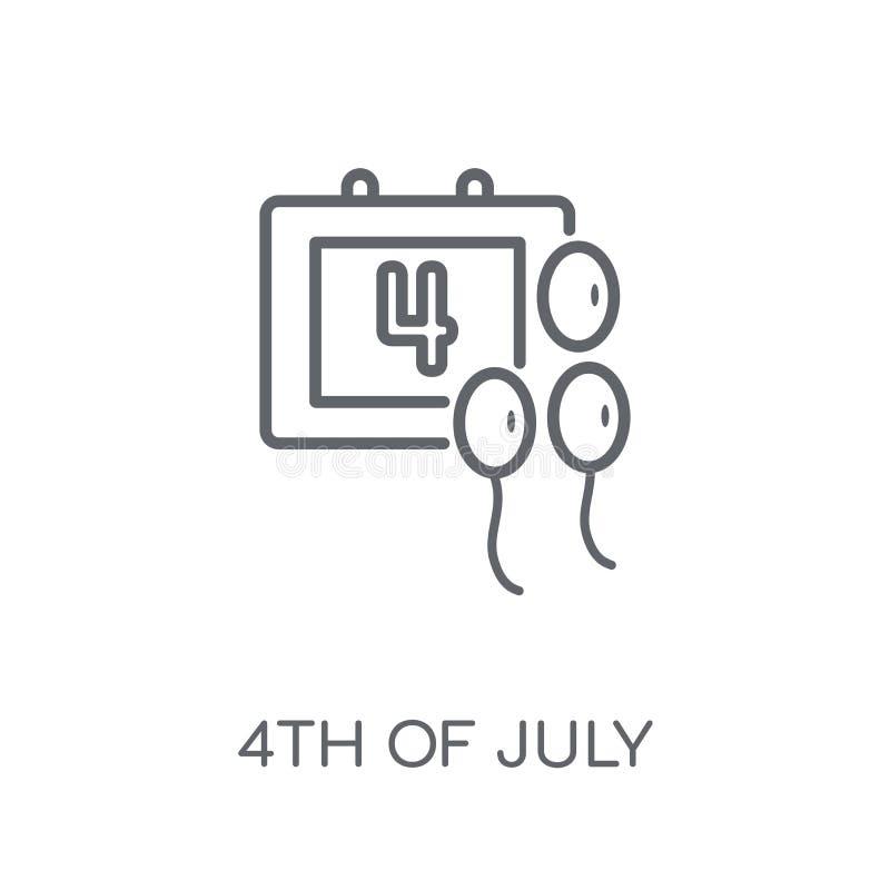 4ème de l'icône linéaire de juillet Contour moderne 4ème de concept de logo de juillet illustration de vecteur