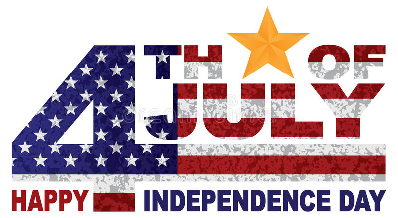 4ème de l'illlustration de vecteur d'étoile d'or des textes de Jour de la Déclaration d'Indépendance de juillet illustration de vecteur