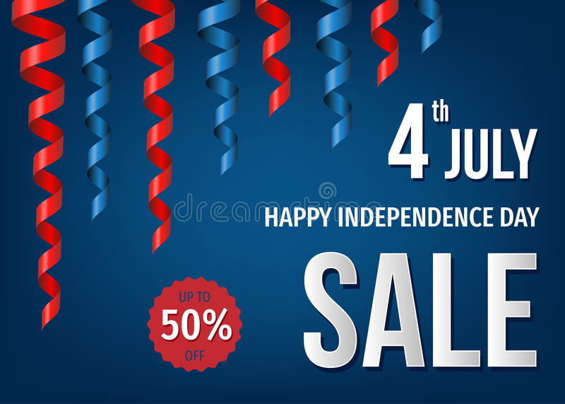 4ème de la bannière de vente de juillet avec les rubans tordus de fête illustration libre de droits