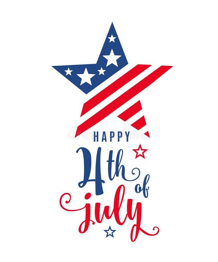 4ème de la bannière de vacances de célébration de juillet, forme d'étoile avec le texte de lettrage de typographie illustration libre de droits
