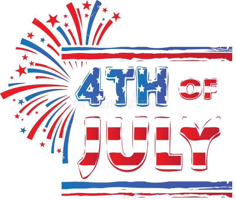 4ème des feux d'artifice blancs de bannière de juillet et bleus rouges photo stock
