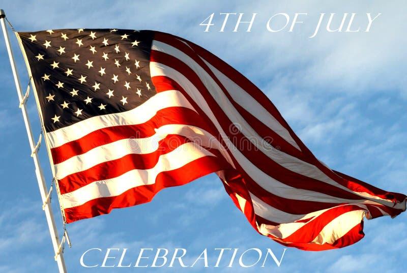 4ème du fond conceptuel de drapeau onduleux de juillet photographie stock libre de droits