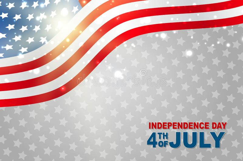 4ème du fond rougeoyant de célébration nationale de Jour de la Déclaration d'Indépendance de juillet Etats-Unis avec le drapeau a illustration libre de droits