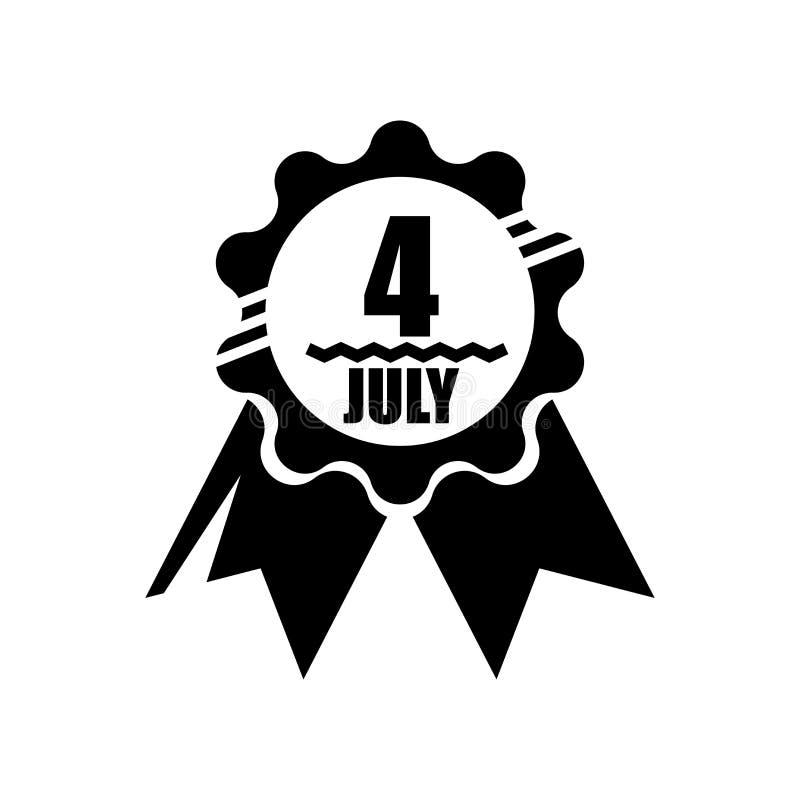 4ème du signe et du symbole de vecteur d'icône de juillet d'isolement sur le fond blanc, 4ème du concept de logo de juillet illustration de vecteur
