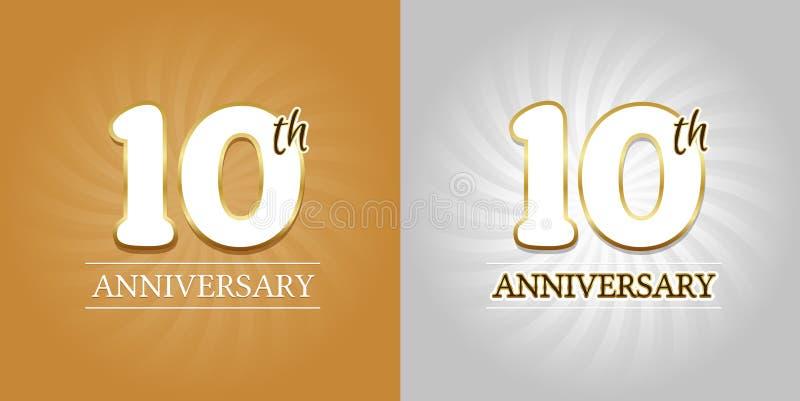 10ème fond d'anniversaire - 10 ans d'or et argent de célébration illustration libre de droits