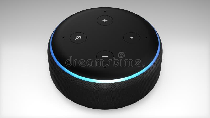3ème génération d'Amazone Alexa Echo Dot illustration libre de droits