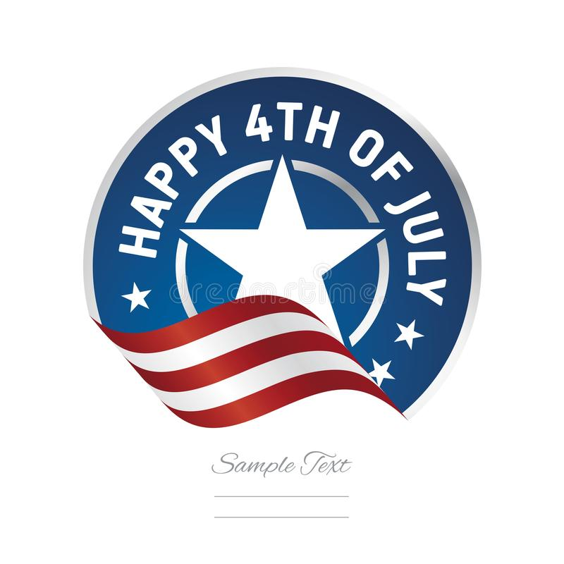 4ème heureux de l'icône de logo de label de ruban de drapeau de juillet Etats-Unis illustration de vecteur