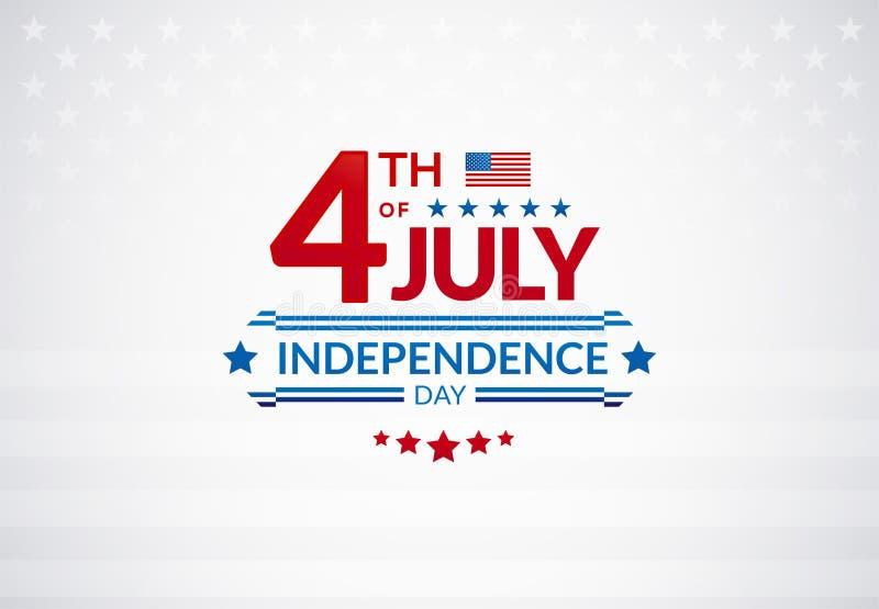4ème heureux de la bannière ou du logo de vente des Etats-Unis de Jour de la Déclaration d'Indépendance de juillet avec illustration libre de droits