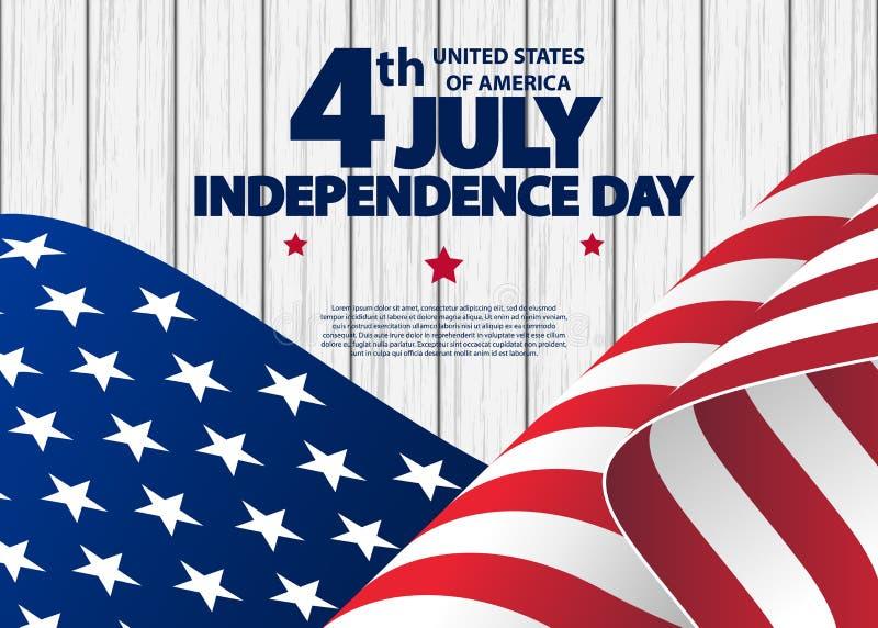 4ème heureux de la carte de voeux de Jour de la Déclaration d'Indépendance de juillet Etats-Unis avec onduler le drapeau national illustration de vecteur