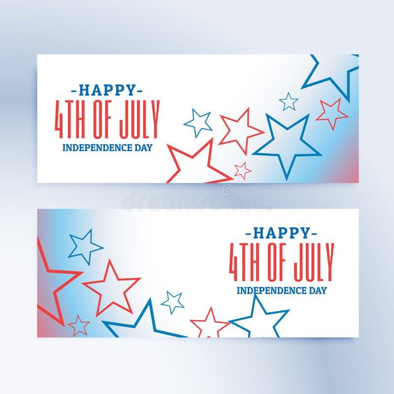 4ème heureux des bannières et des en-têtes de Jour de la Déclaration d'Indépendance de juillet illustration de vecteur