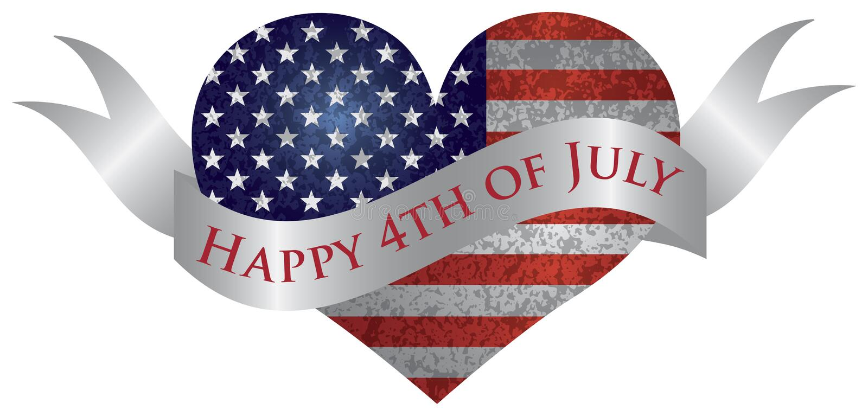 4ème heureux du coeur de juillet avec le rouleau illustration stock