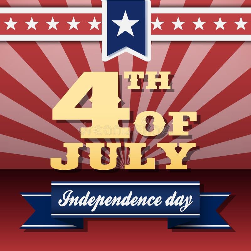 4ème heureux du Jour de la Déclaration d'Indépendance de juillet illustration de vecteur