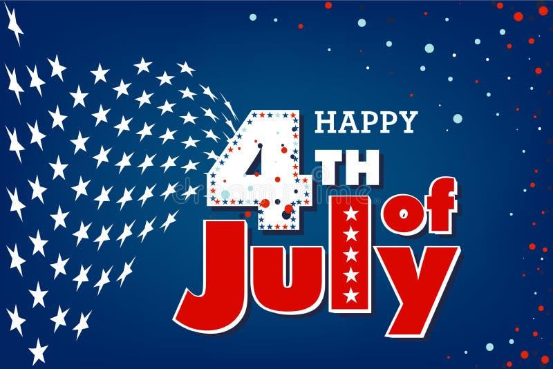4ème heureux du Jour de la Déclaration d'Indépendance de juillet USA illustration stock
