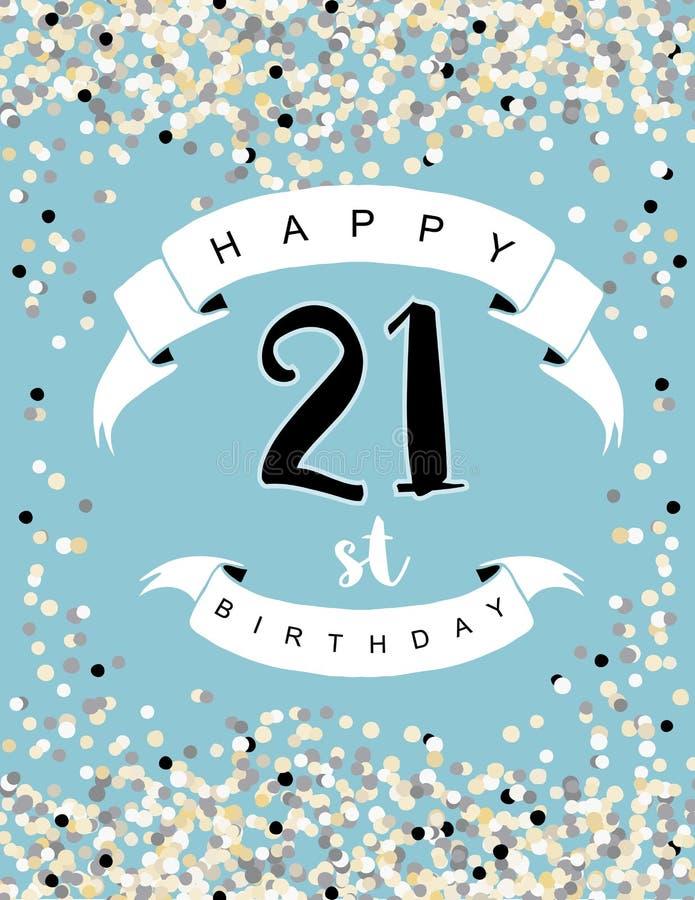 21ème illustration heureuse de vecteur d'anniversaire Carte bleue illustration stock