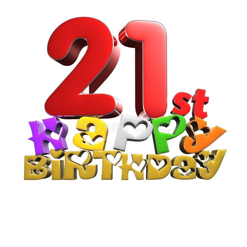 21ème joyeux anniversaire 3d illustration stock