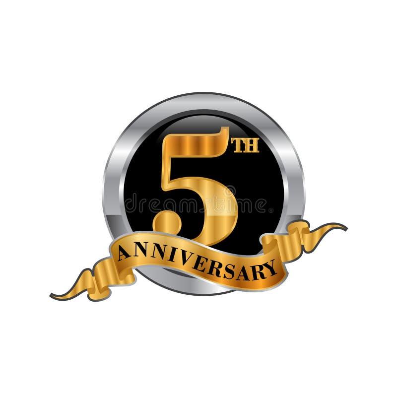 5ème logo d'icône d'anniversaire d'années Élément de conception graphique illustration de vecteur