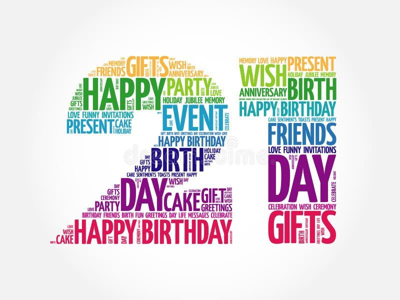 21ème nuage heureux de mot d'anniversaire illustration libre de droits