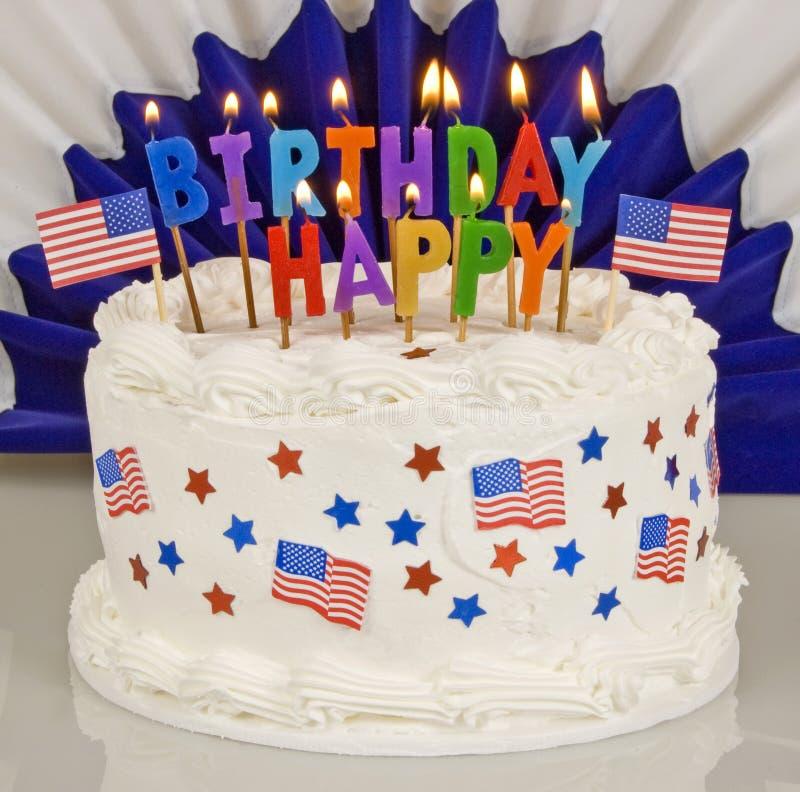 4ème patriotique du gâteau d'anniversaire de juillet photo stock