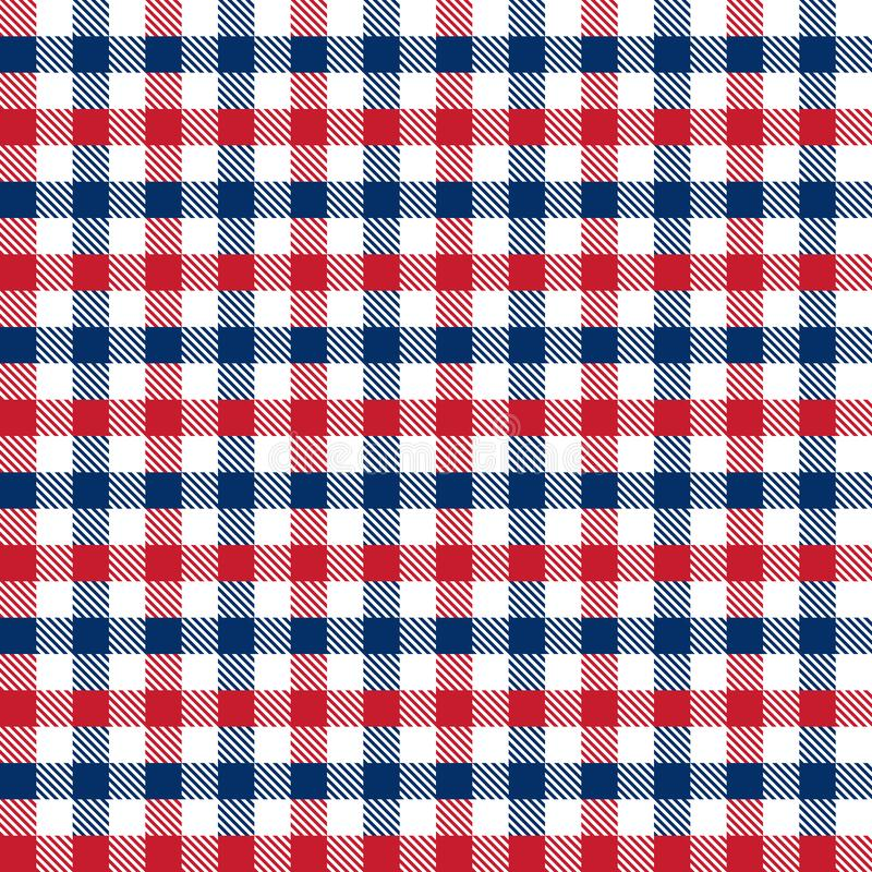 4ème rouge et bleu sans couture du fond de modèle de contrôle de guingan de Jour de la Déclaration d'Indépendance de juillet illustration stock
