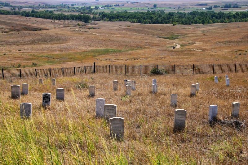 7èmes pierres de marqueur de cavalerie au ressortissant de champ de bataille de Little Bighorn photo libre de droits