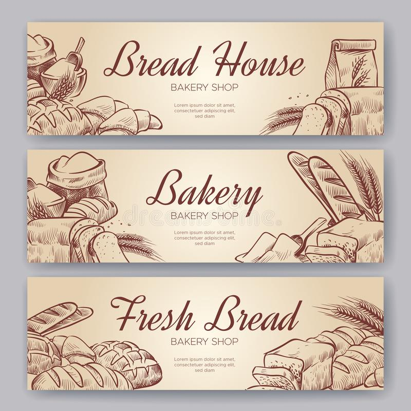 面包店横幅 手拉的烹调面包面包店百吉卷在酥皮点心黑麦上添面包烘烤被设置的烘烤的裸麦粉粗面包烹饪横幅 库存例证