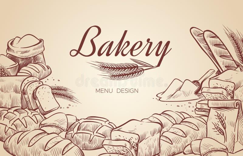 面包店背景 手拉的烹调面包面包店百吉卷在酥皮点心上添面包烘烤烘烤的烹饪传染媒介菜单设计 皇族释放例证