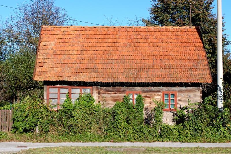 非常小放弃了有大窗口的木家庭房子部分地长满与履带牵引装置植物和密集的庭院植被 免版税库存图片