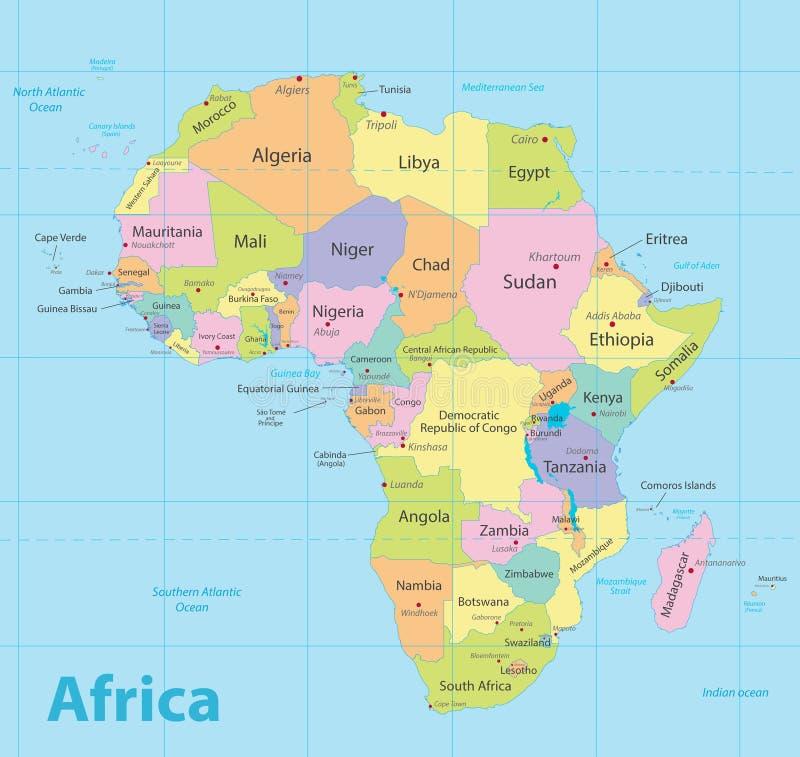非洲地图五颜六色,新的政治详细的地图,分开的各自的状态,与状态城市和海名字,蓝色背景 向量例证