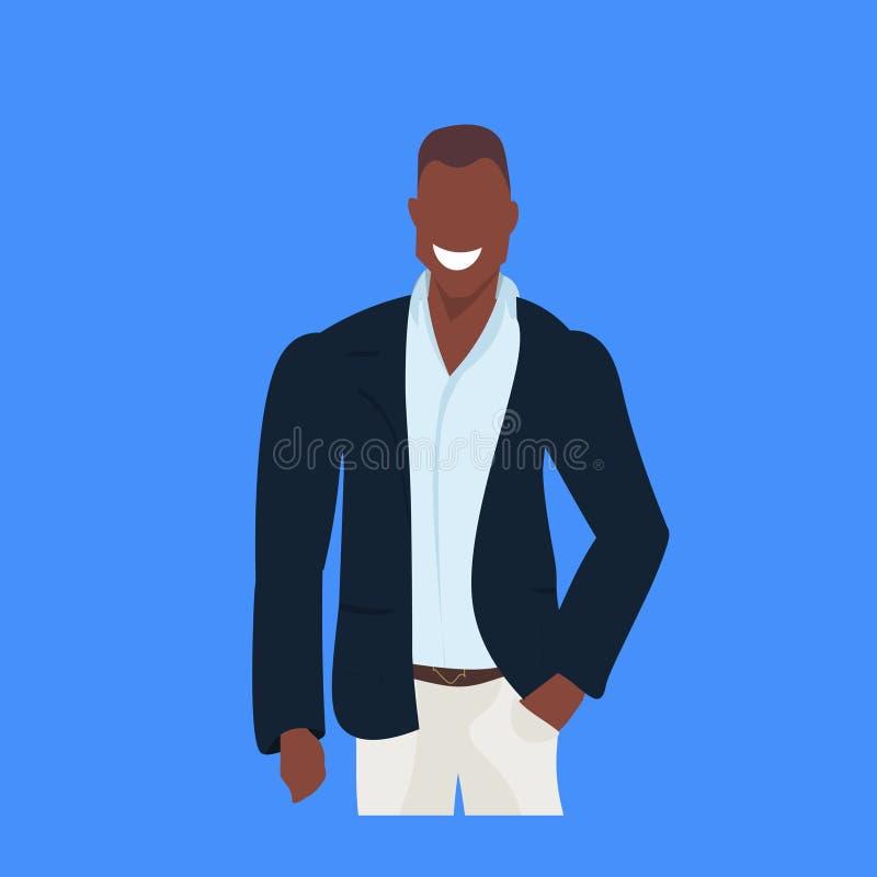 非裔美国人的商人微笑的年轻商人办公室工作者男性卡通人物画象平的蓝色 向量例证