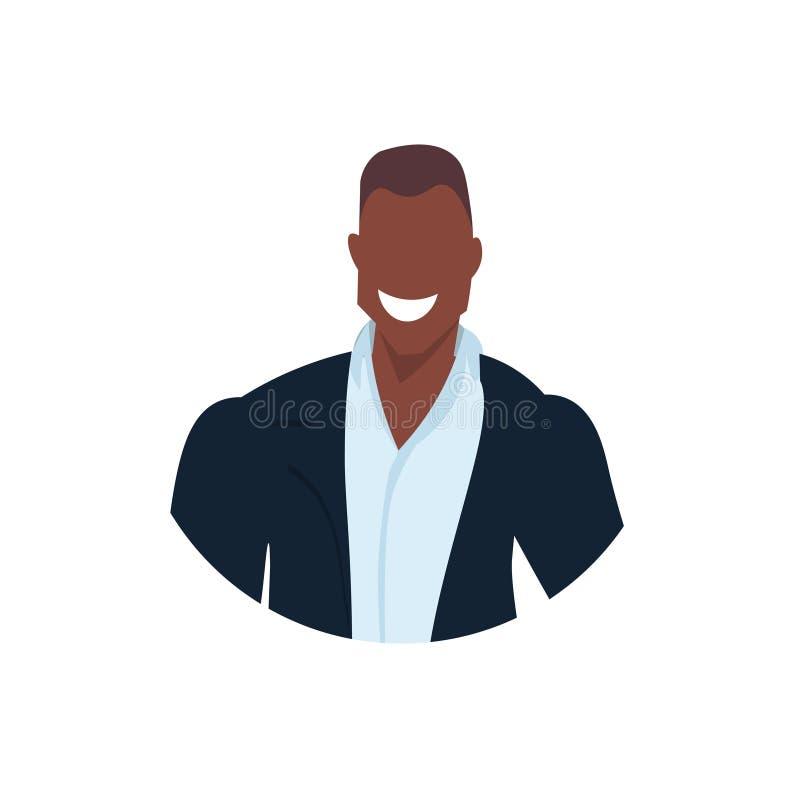 非裔美国人的商人面孔具体化微笑的年轻商人办公室工作者男性卡通人物画象平展 皇族释放例证
