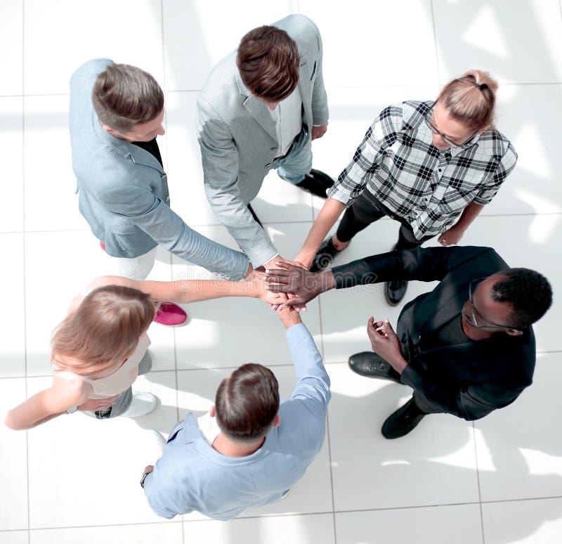 顶视图 多民族同事在办公室站立并且结合在一起使手 图库摄影