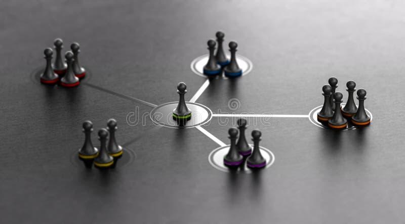 领导和队黏结性在黑背景 库存例证