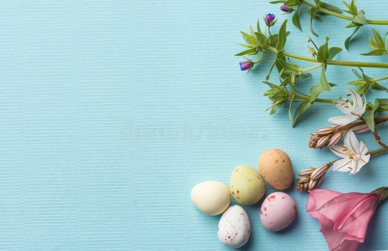 领域花多彩多姿的有斑点的朱古力蛋花束在浅兰的背景的与布纹纸纹理 复活节 免版税图库摄影