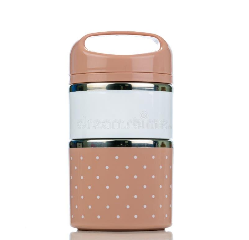 食物载体 为野餐堆积的饭盒 Bento容器 蒂芬食物载体 塑料和不锈钢食物存贮 免版税库存照片