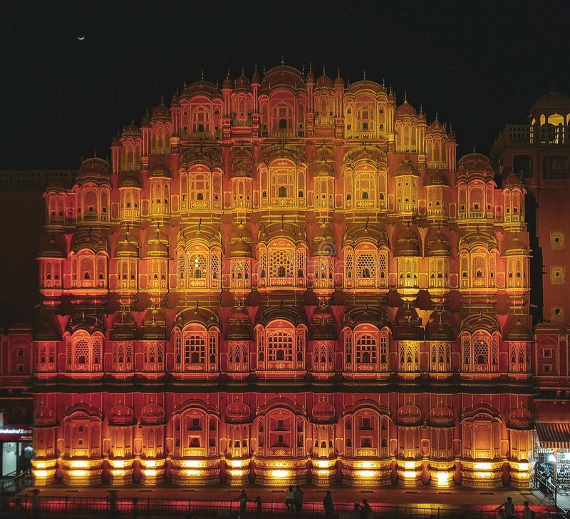风宫殿在斋浦尔,印度 免版税库存照片