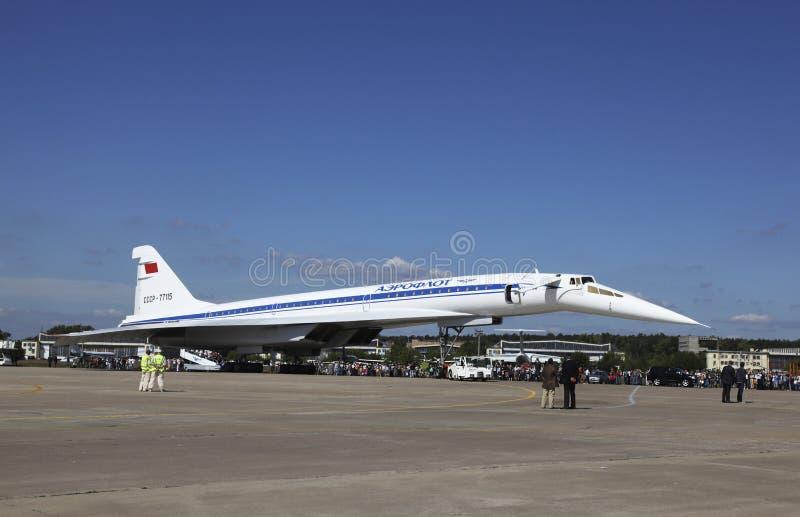 飞机Tu144在机场在Zhukovsky 国际航空航天沙龙'MAKS-2011' Zhukovsky,莫斯科地区 库存照片