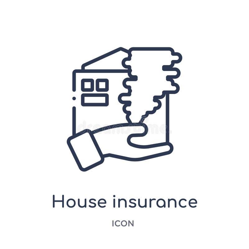 风暴象的线性房子保险从保险概述汇集 稀薄的线被隔绝的风暴象的房子保险  皇族释放例证