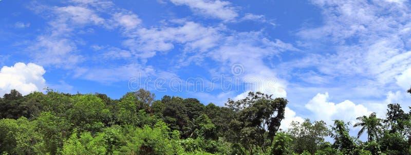 风景视图美好和惊人的高分辨率全景在塞舌尔海岛上的 免版税库存照片